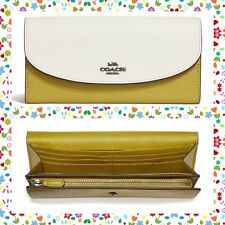 EASTER GIFT NWT COACH Colorblock Leather Slim Envelope Wallet CHALK CHARTREUSE