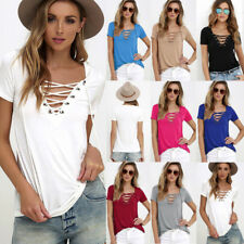 New Summer Women Lace UP V Neck T-Shirt Blouse Ladies Short Sleeve Loose Tops AU
