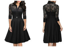 Women's Vintage 1950s Style 3/4 Sleeve Lace Flare A-line Swing Dresses With Belt