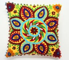 """INDIAN HANDMADE SUZANI CUSHION COVER 16"""" HOME DECOR PILLOW EMBROIDERED VINTAGE03"""