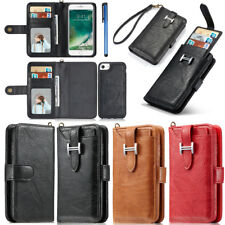 For iPhone Genuine Leather Flip Card Holder Wallet Magnetic Removable Case Cover