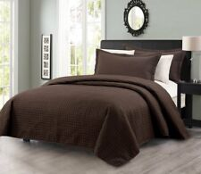 Edan 3-Piece Luxury Solid Chocolate Checkered Quilted Bedspread Coverlet Set