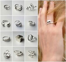 Adjustable 925 Sterling Silver Rings Chunky Womens Ring Statement Band Gift UK