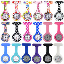 Silicone Nurse Watch Brooch Tunic Doctor Medical Fob Pocket Watches Free Battery