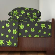 Marijuana Cannabis Grass Reefer Psychedelic Organic Sateen Sheet Set by Roostery
