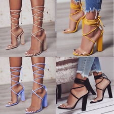Women High Block Heels Ankle Strap Peep Toe Sandals Summer Beach Pumps Shoes