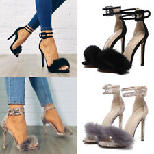 Women Fluffy Fur High Heels Stiletto Ankle Sandals Peep Toe Pumps Buckle Shoes