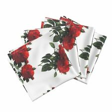 Redoute Roses Botanical Floral Red Cotton Dinner Napkins by Roostery Set of 4