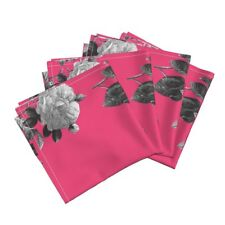 Redoute Floral Flowers Roses Cotton Dinner Napkins by Roostery Set of 4