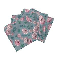 Ranunculus Roses Painted Floral Cotton Dinner Napkins by Roostery Set of 4
