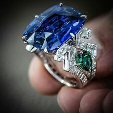 Huge Sapphire& Emerald 925 Silver Jewelry Wedding Engagement Gift Ring Sz 6-10