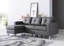 Sectional Sofa With Ottoman Gray Faux Leather Convertible Home Couch Bed Chaise
