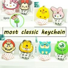 New Cute Keychain Cartoon Key Cover rubber case Cap Key Ring 2 PCS women Gift