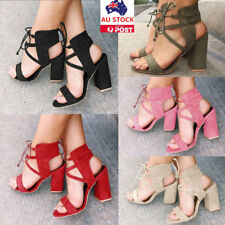 Women Summer Block High Heel Ankle Strappy Sandals Ladies Open Toe Lace Up Shoes