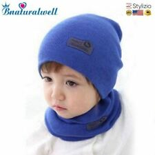 Child Hat Warm Letter Knitted Kids Hats For Unisex Solid Baby Winter Caps + Scar