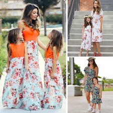 Mother and Daughter Summer Boho Floral Long Maxi Dress Mommy&Me Matching Outfits