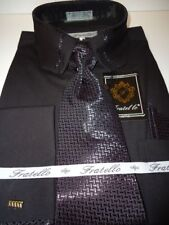 Mens Black Cropped Collar Matching Tie French Cuff Dress Shirt Fratello DS3733