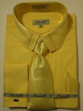 Mens Canary Yellow Cropped Collar French Cuff Dress Shirt + Tie Fratello DS3733