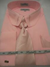 Mens Pink Cropped Collar French Cuff Dress Shirt + Matching Tie Fratello DS3733