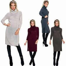 Ladies Knitted Dress Long Dress Roll Neck S 34 36 38 Turtleneck Pullover Sweater