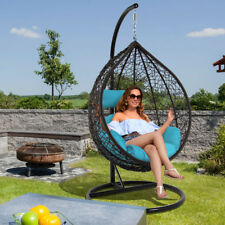 Dubai Patio Wicker Hanging Hammock Egg Chair w/Stand Outdoor Rattan Swing Chair