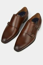 Hardy Amies Mens Formal Shoes Mahogany Double Monk Leather Smarts