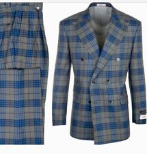 NEW! Tiglio Rosso Grey & Blue Double Breast Italian Wool Suit msrp $499.95