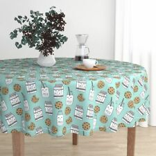 Round Tablecloth Milk Cookies Milk And Cookies Food Baby Kids Cotton Sateen
