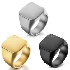 Free Engraving Signet Ring Stainless Steel Biker Mens Wedding Band Size 7-14