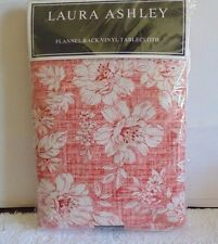 Laura Ashley Flannel Back Vinyl Tablecloth - Iris Coral - 4 Sizes - NWT
