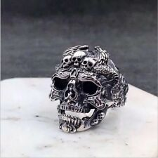 Men's Stainless Steel Silver Vintage Cool Gothic Punk Skull Finger Rings Jewelry