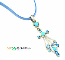 Swarovski Elements Crystal New Aqua Blue Angel Cross Pendant Necklace Gift