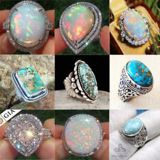 Vintage Women Jewelry 925 Silver Turquoise Opal Anniversary Wedding Ring Sz6-10