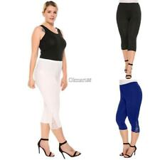 Women Casual Lace Solid Natural Elastic Waist Cropped Pants OK 01