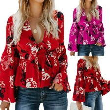 Women Sexy Floral V Neck Long Flare Sleeves Tie Belted Waist Bow Tops Blouses