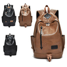 Mens Vintage Classic Casual PU Leather Bag School Camping Travel Laptop Backpack