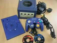RETRO PURPLE NINTENDO GAME CUBE BUNDLE CONSOLE CONTROLLER 2 GAMES AND LEADS