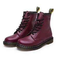 Women's Low Heel Combat Martin Boots Military Casual Leather Lace-Up Ankle Boots