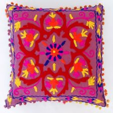 Suzani Pillow Cover Indian Boho Throw Cushion Cover Embroidery Pom Pom Shams Z