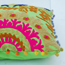 "Indian Handmade Embroidered Suzani Cushion Cover 16""Vintage Suzani Pillow_CaseK1"