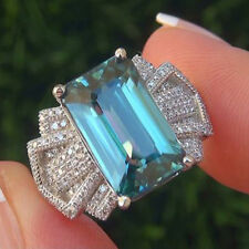 925 Silver Ring Nobby Women Men  Princess Cut Aquamarine Wedding Gift Size 6-10