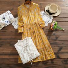 Women Spring Style Ruffled Full Sleeve Floral Printed Chiffon Pleated Dress