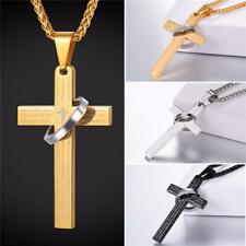 Stainless Steel Bible Scripted Crucifix Cross Pendant Ring & Chain Necklace