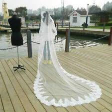 White/Ivory 1 Layer 3M Lace Edge Wedding Veil Cathedral Bridal Wedding Veil