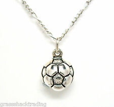 SOCCER BALL 925 Sterling Silver Necklace Chain and Pendant #1909