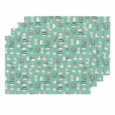 Cloth Placemats Teapot Scandi Coffee Mint Kitchen Retro Vintage Set of 4