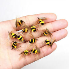 HK- 10Pcs Artificial Bumble Bee Ant Trout Fly Fishing Lure Bionic Bait Tackle Ex