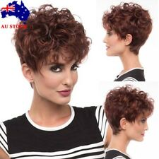Women Short Wavy Curly Full Hair Wigs Wine Red  Synthetic Cosplay Wig + Wig Cap