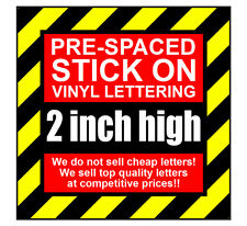 10 Characters 2 inch 50mm high pre-spaced stick on vinyl letters & numbers