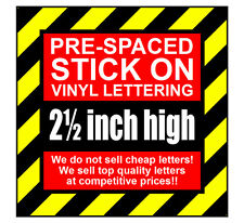 4 Characters 2.5 inch 64mm high pre-spaced stick on vinyl letters & numbers